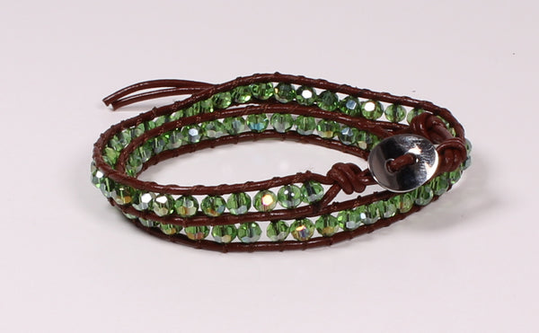 Green Faceted Crystal Wrap Bracelet