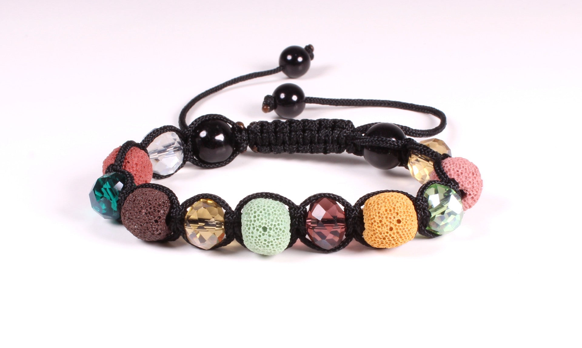 Lavastone and Faceted Glass Shamballa Bracelet