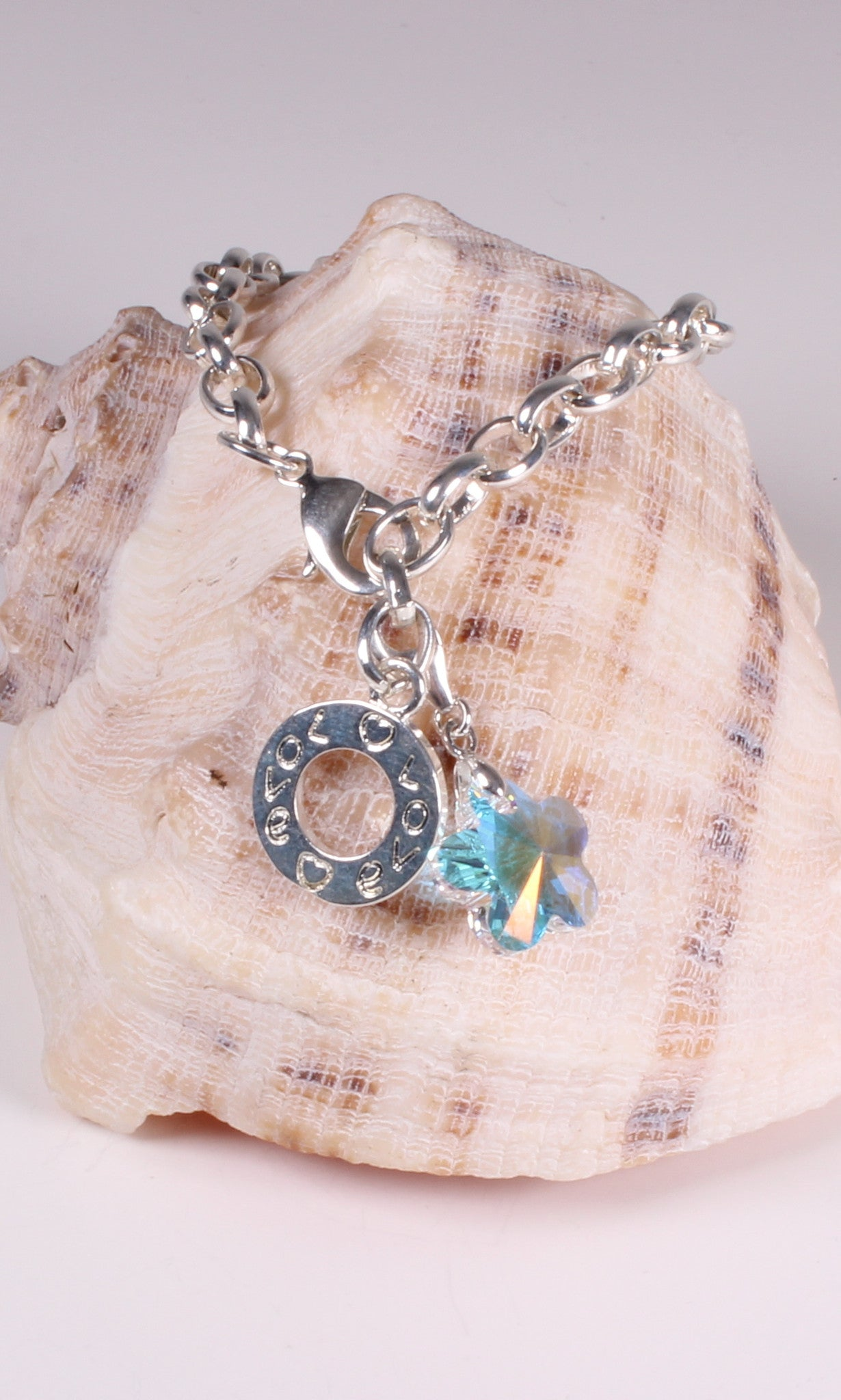 Silver Plated Charm Bracelet with Iridescent Austrian Crystal Flower Charm