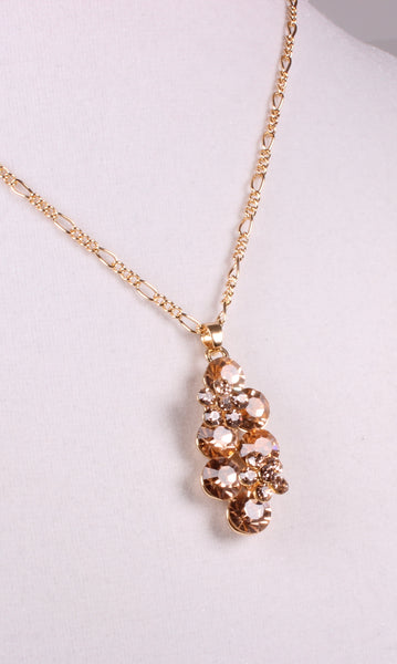 Golden Champagne Rhinestone Flower Necklace