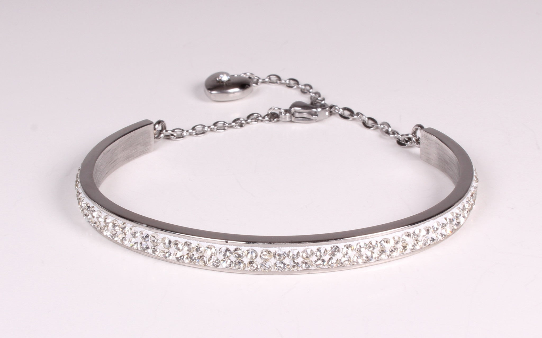 Rhinestone Bangle Bracelet with dangling Rhinestone Heart