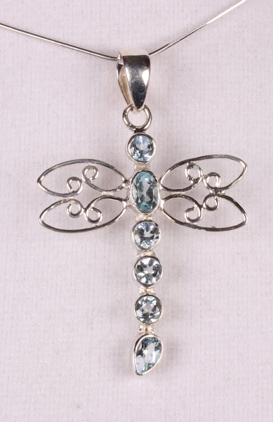 Blue Topaz Sterling Silver Dragonfly Pendant