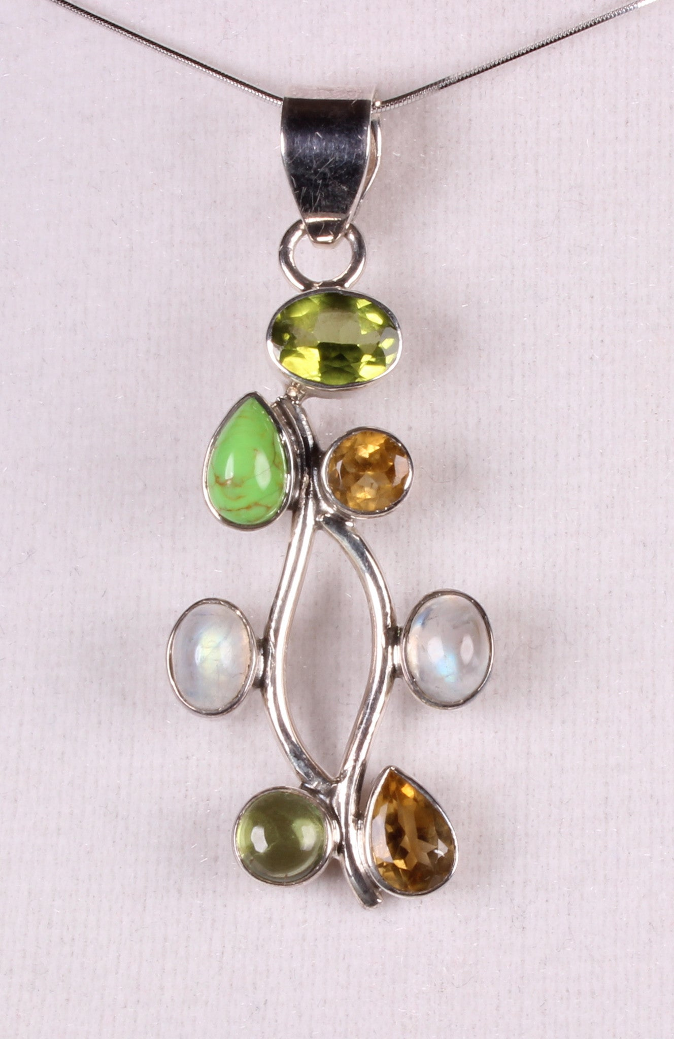Multi-gemstone Sterling Silver Pendant