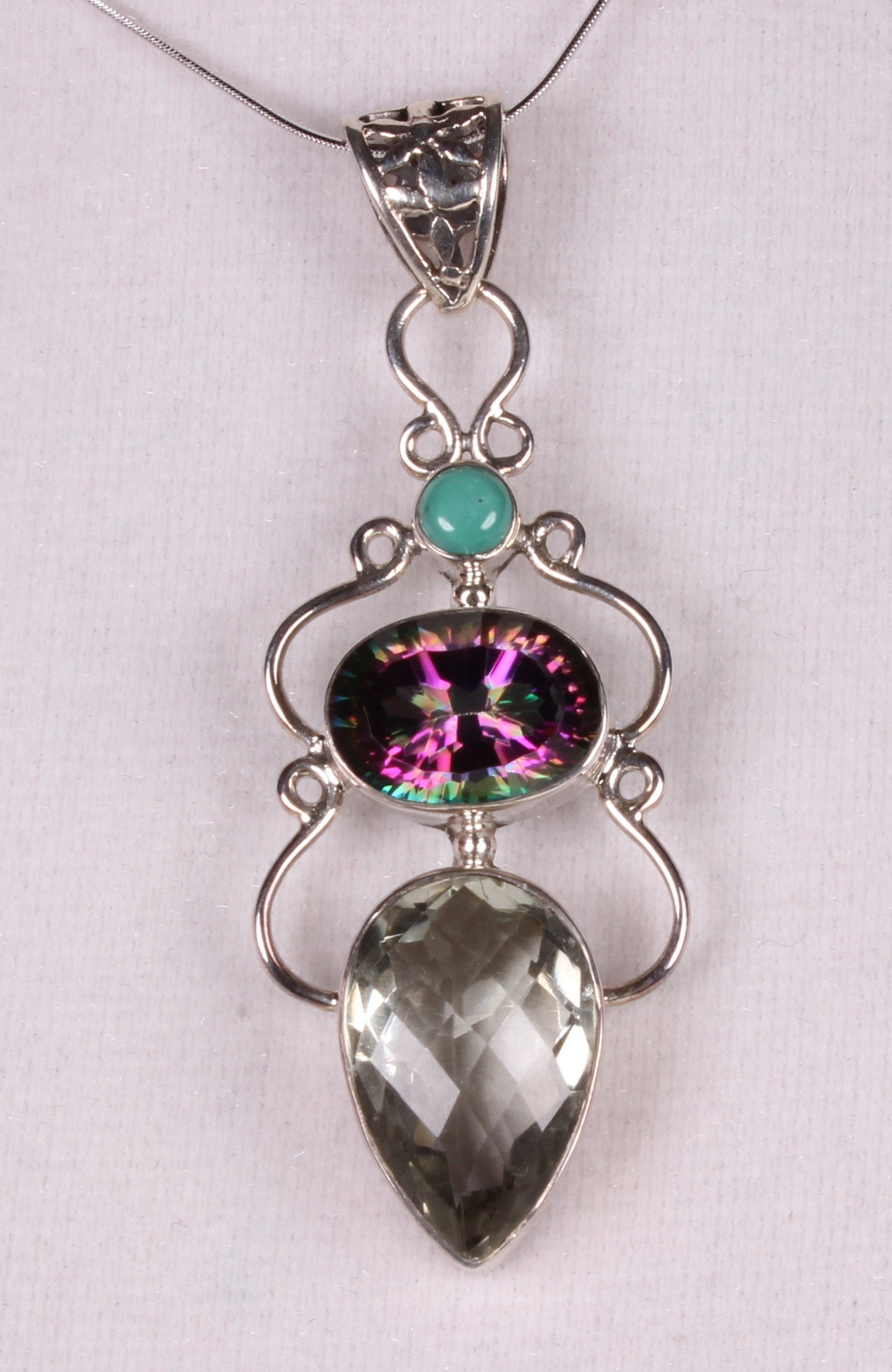 Mystic Quartz and Green Amethyst Sterling Silver Pendant