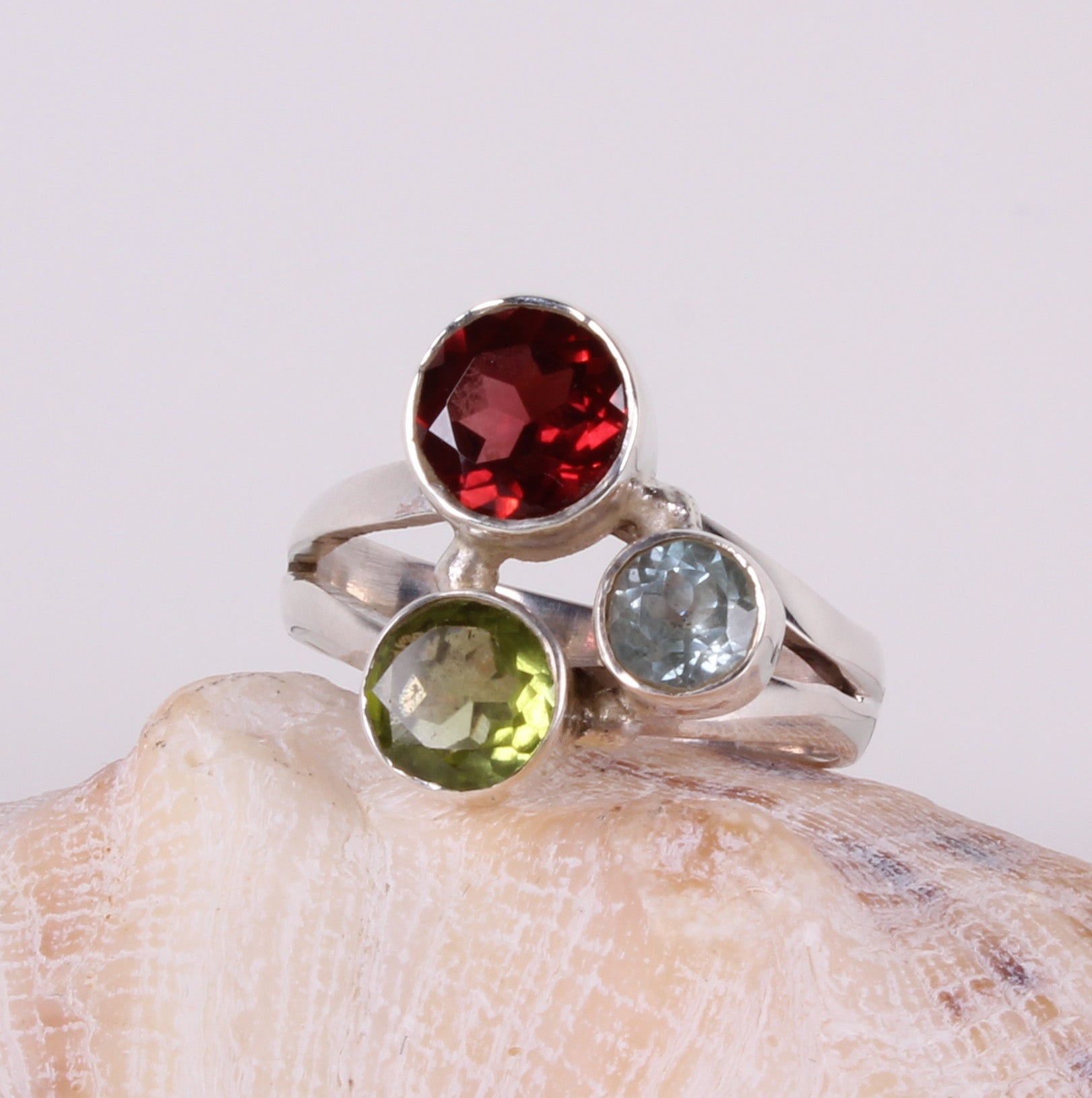 Red Garnet, Green Amethyst and Blue Topaz Sterling Silver Ring