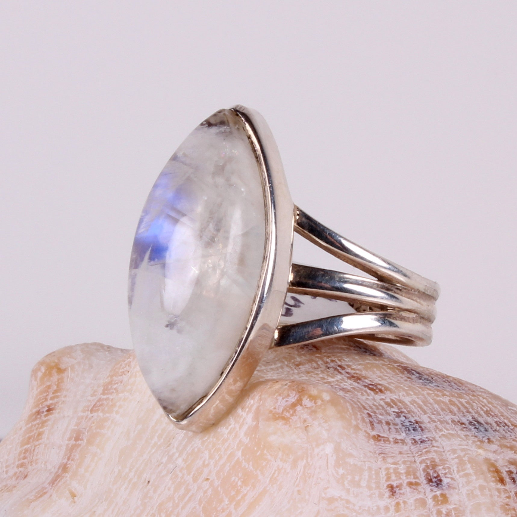 Rainbow Moonstone Sterling Silver Ring-Size 7