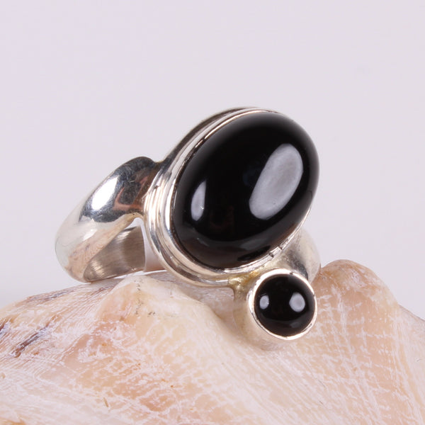 Black Onyx Sterling Silver Ring-Size 7