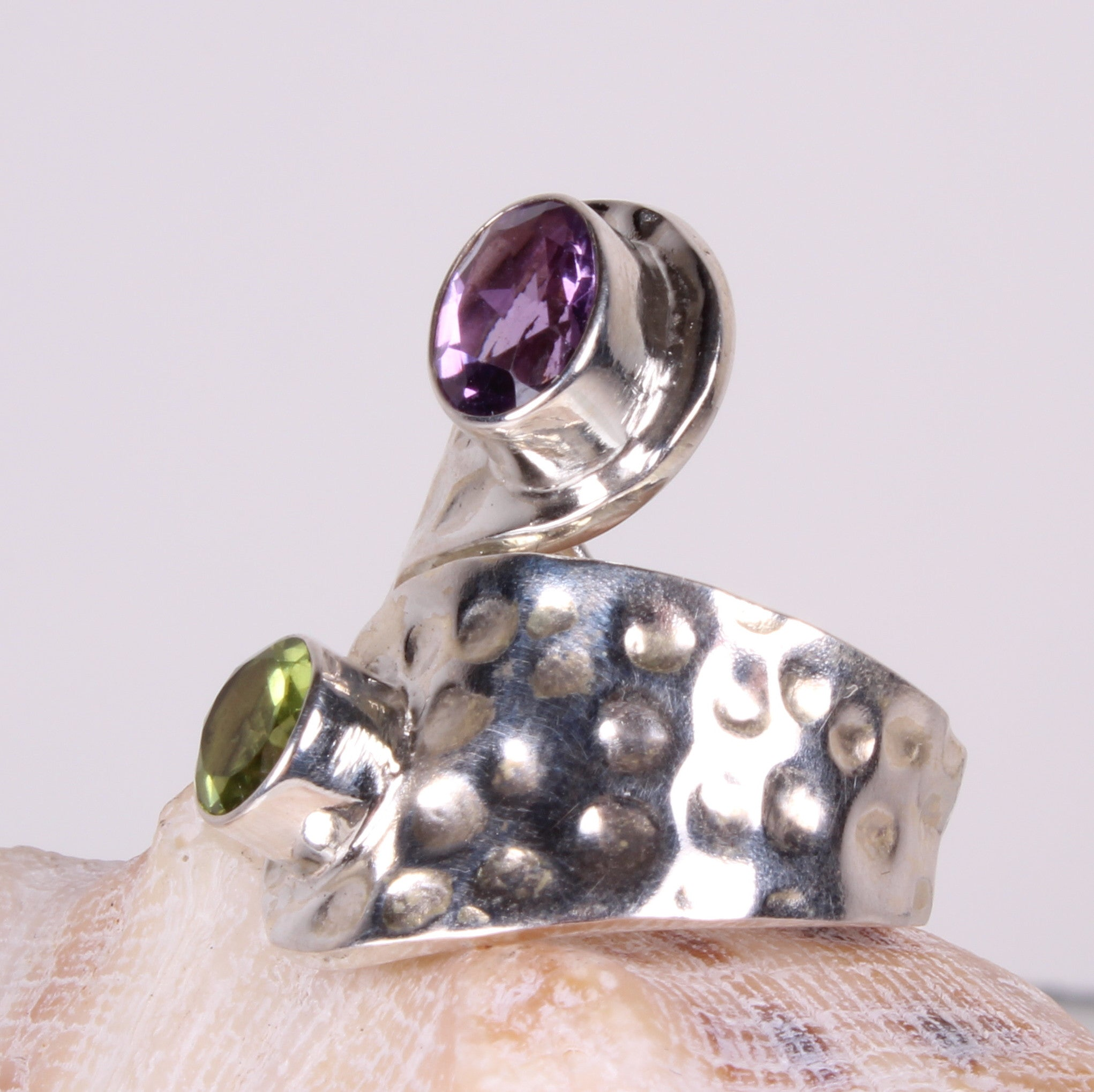 Purple and Green Amethyst Hammered Sterling Silver Ring