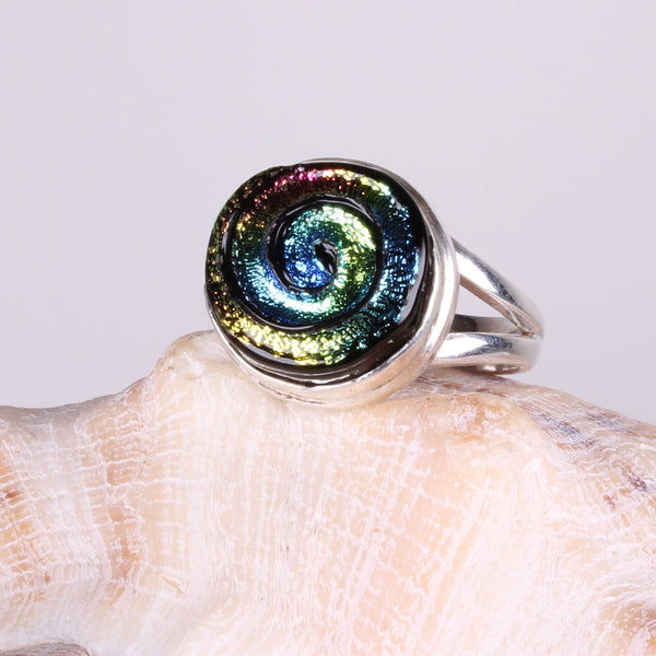 Dichroic Foil Rainbow Glass Sterling Silver Ring