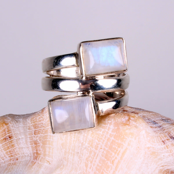 Modern Designer Rainbow Moonstone Sterling Silver Ring-Size 7