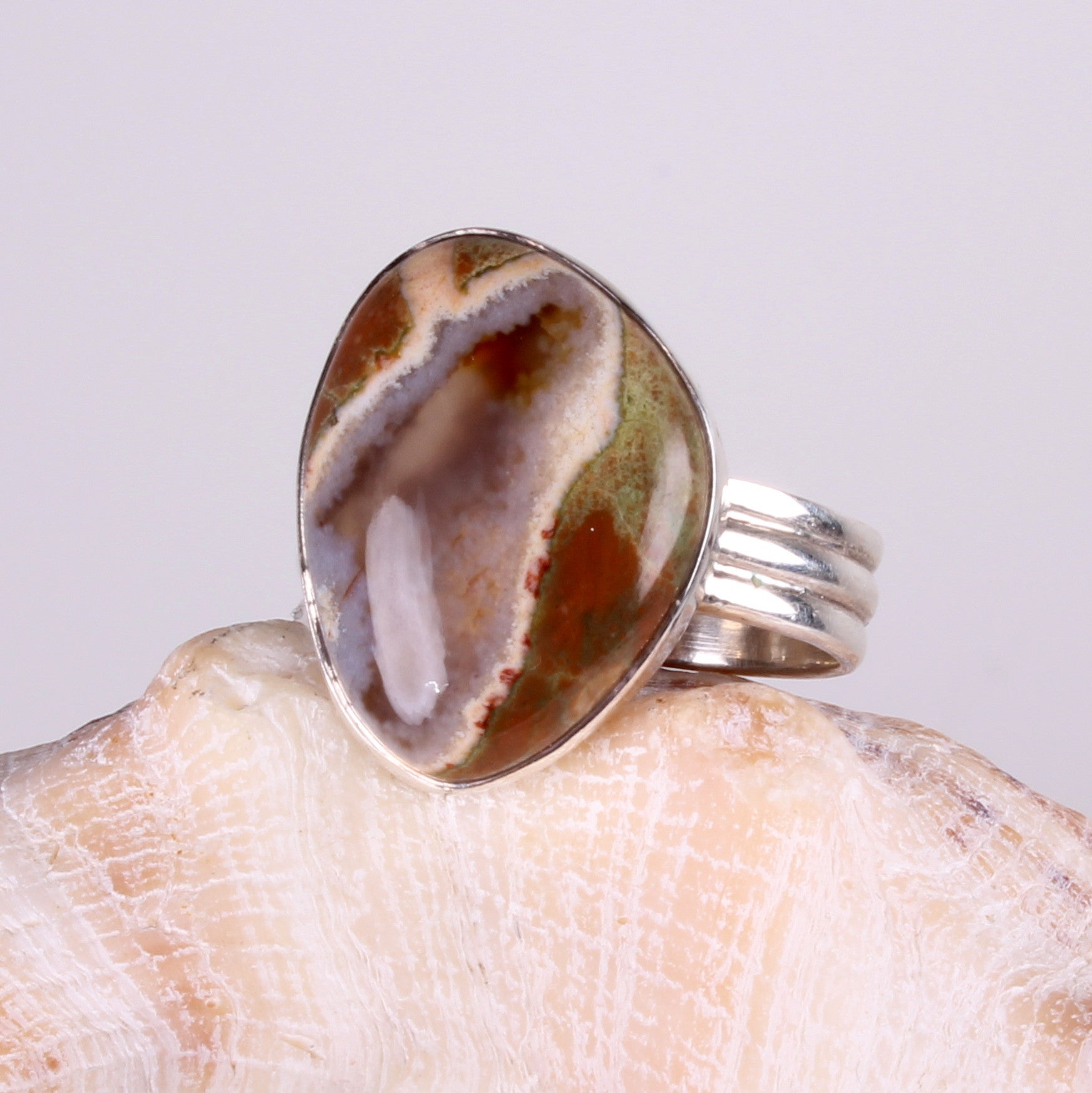 Rhyolite Unique Shape Sterling Silver Ring
