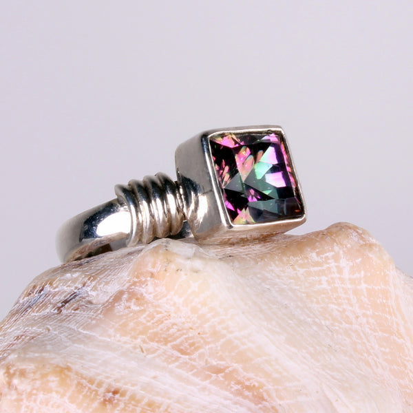 Mystic Quartz Square Shape Sterling Silver Ring-Size 9