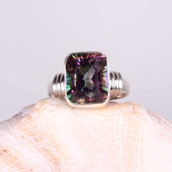 Mystic Quartz Square Sterling Silver Ring-Size 8