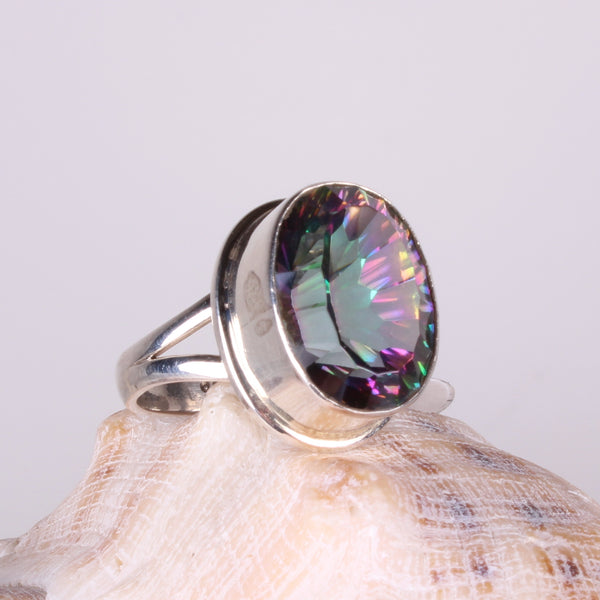 Mystic Quartz Sterling Silver Ring-Size 8