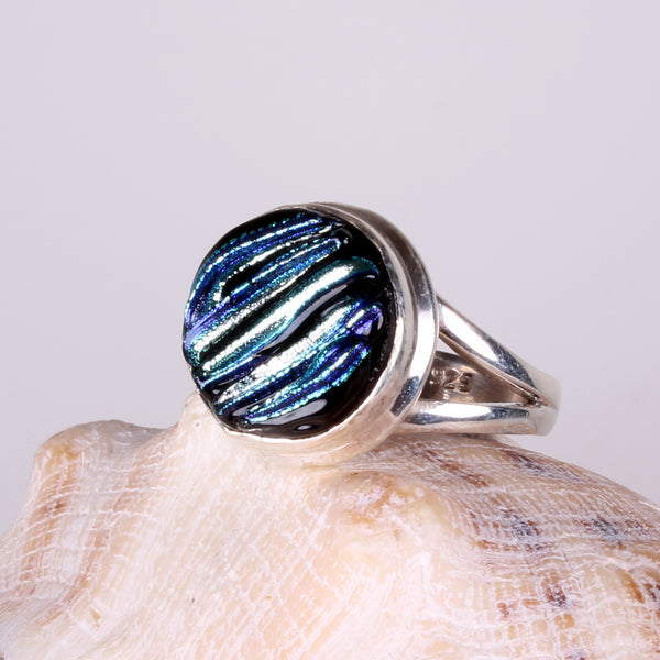 Dichroic Foil Blue Tone Glass Sterling Silver Ring