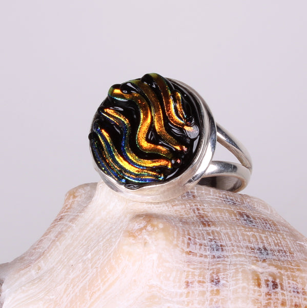 Dichroic Foil Sunset Sparkle Glass Sterling Silver Ring