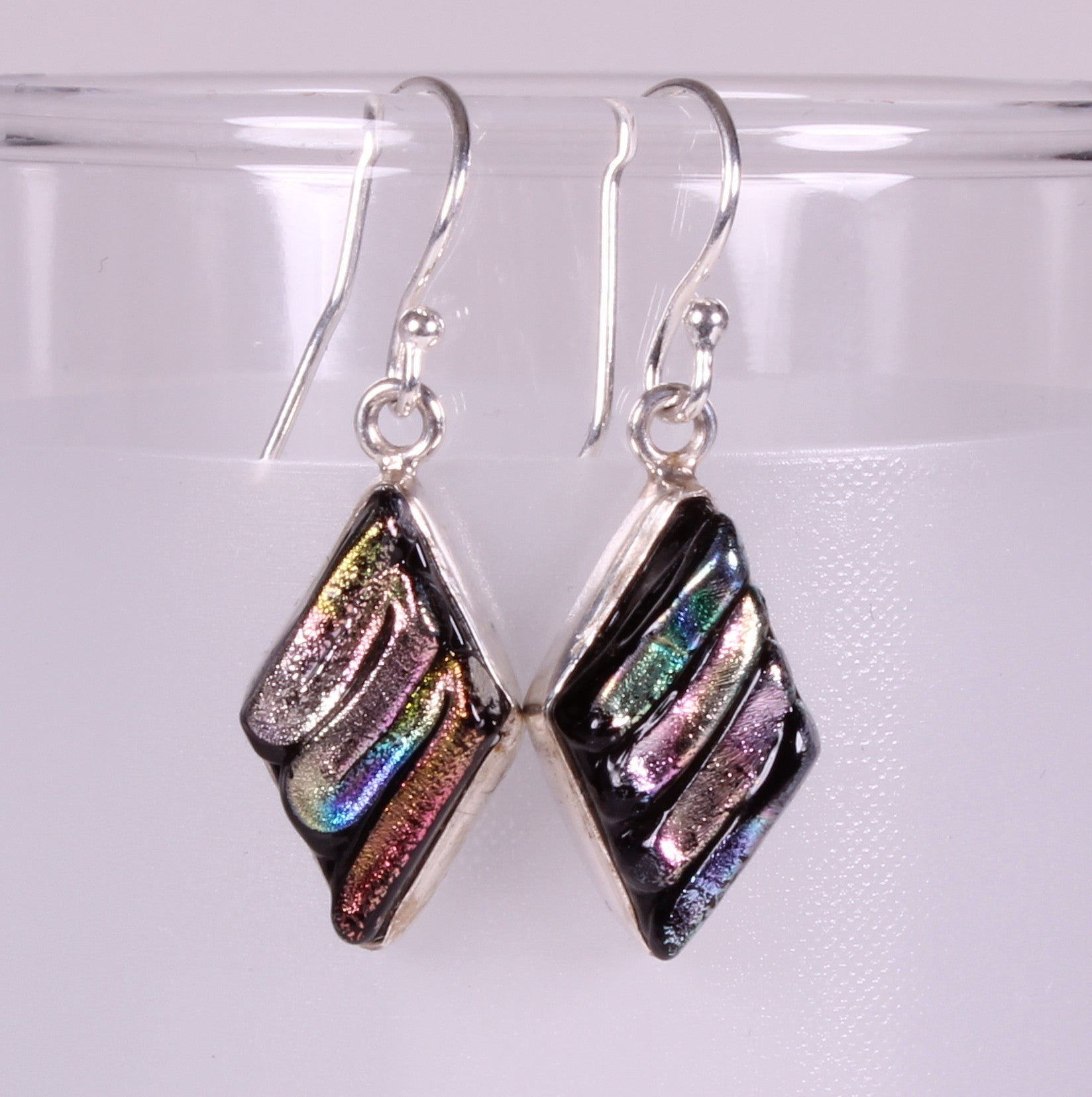 Dichroic Foil Glass Pastel Tone Sterling Silver Earrings