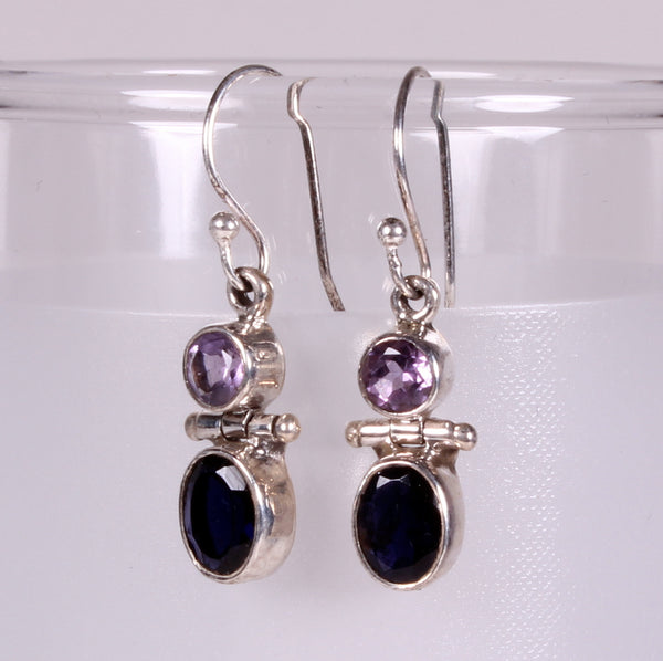 Amethyst and Iolite Sterling Silver Earrings