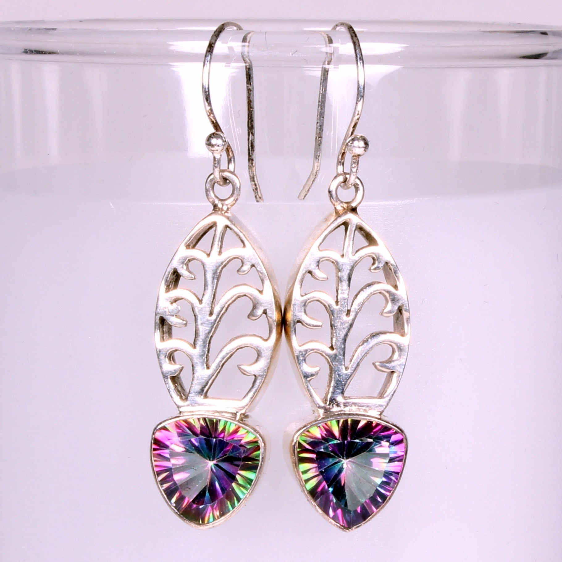 Fancy Leaf Designer Mystic Quartz Sterling Silver Earrings