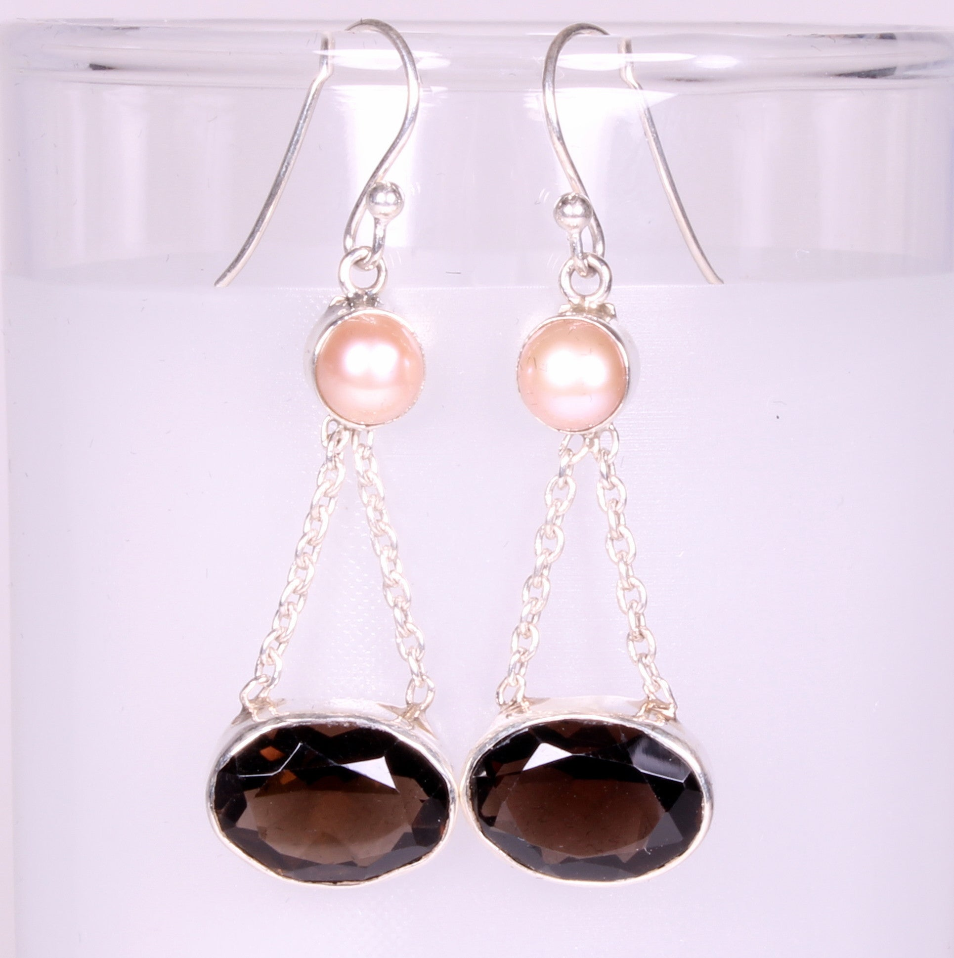 Smoky Quartz and Freshwater Pearl Sterling Silver Earrings