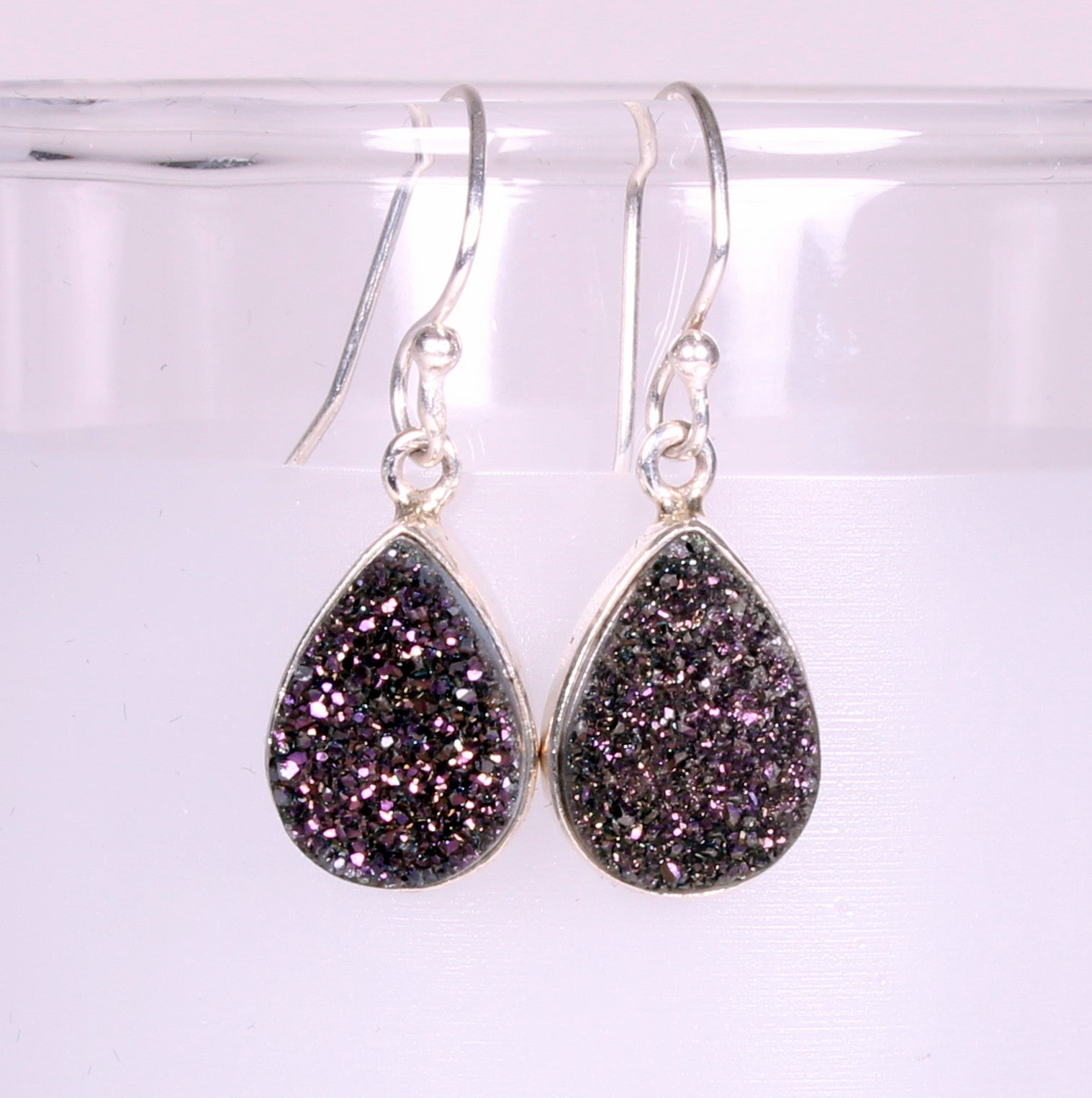 Druzy Cabachon Sterling Silver Earrings