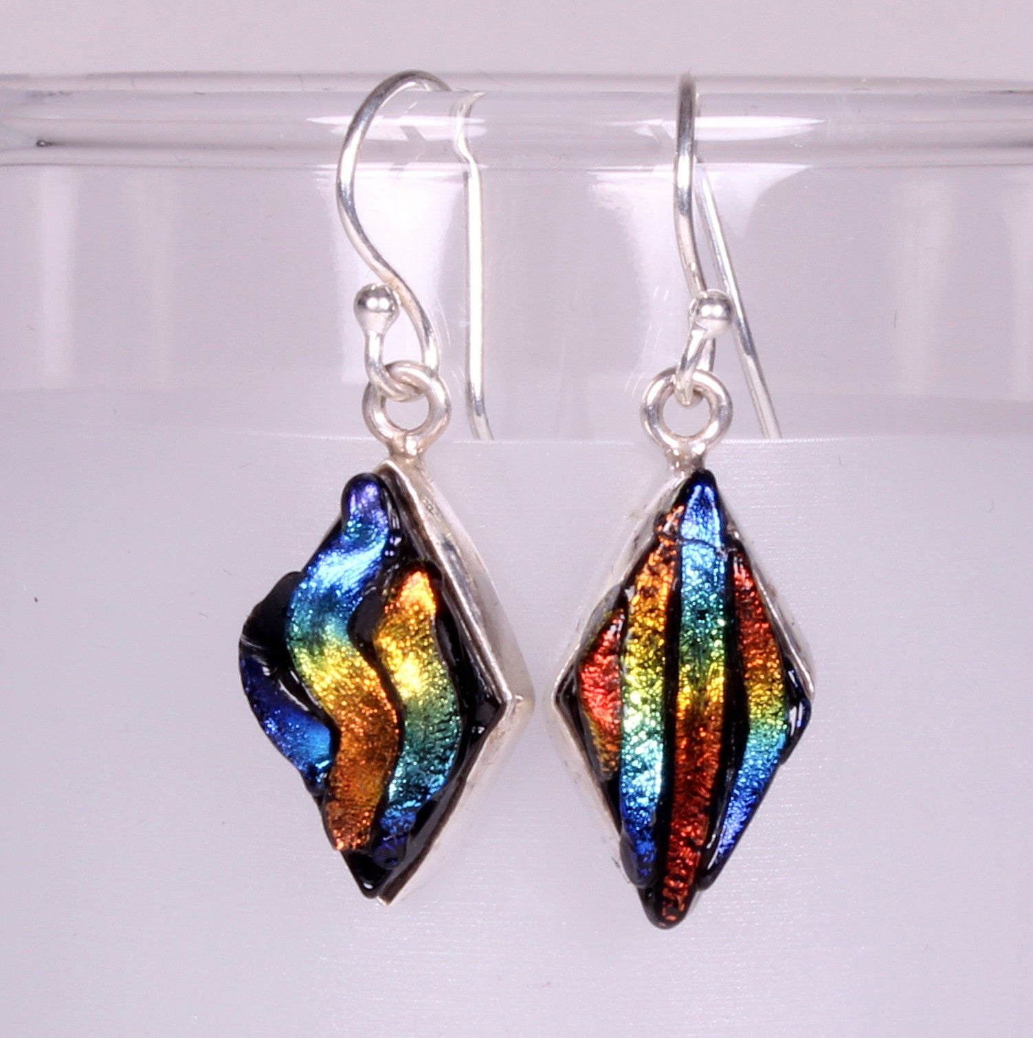 Dichroic Foil Glass Rainbow Sterling Silver Earrings