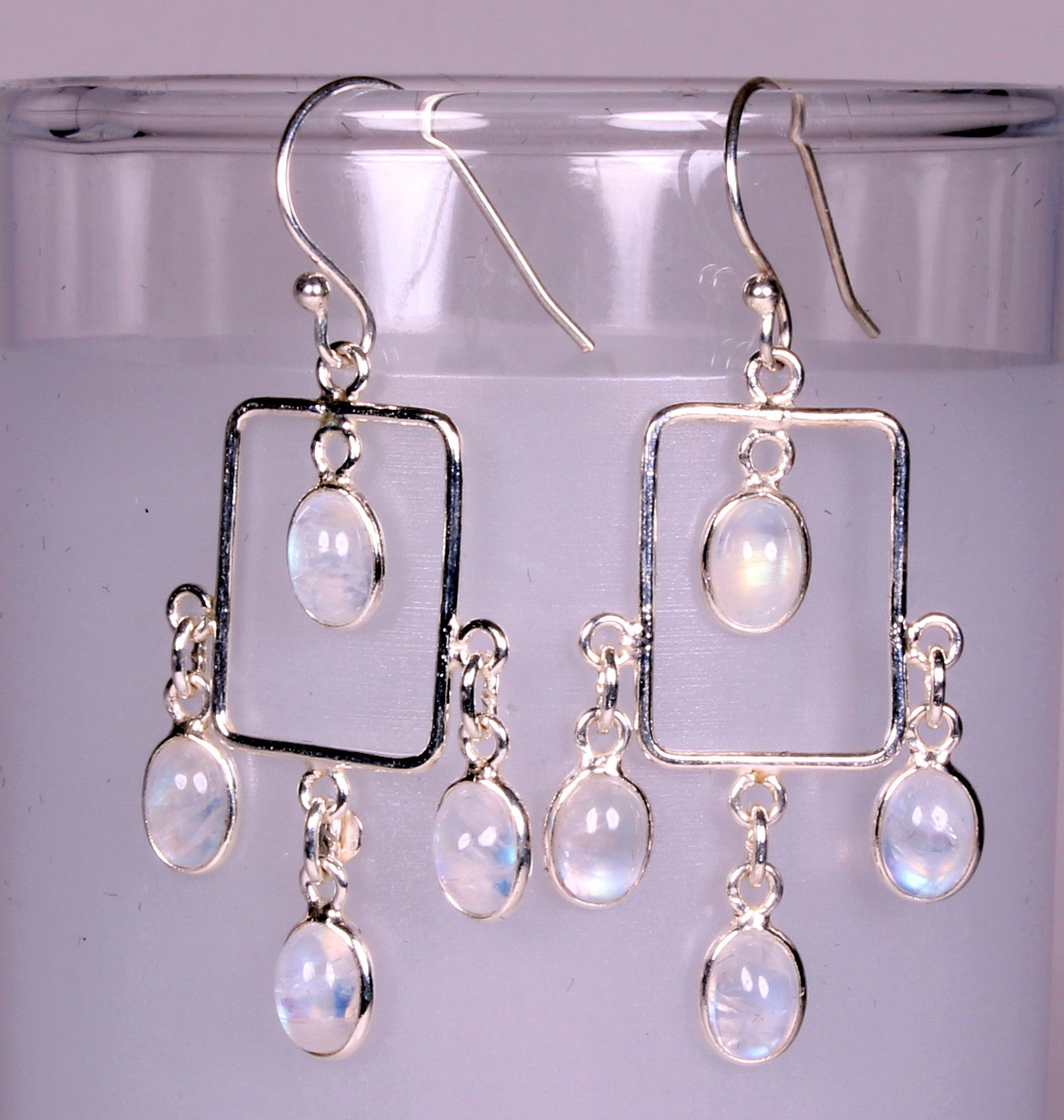 Rainbow Moonstone Chandelier Sterling Silver Earrings