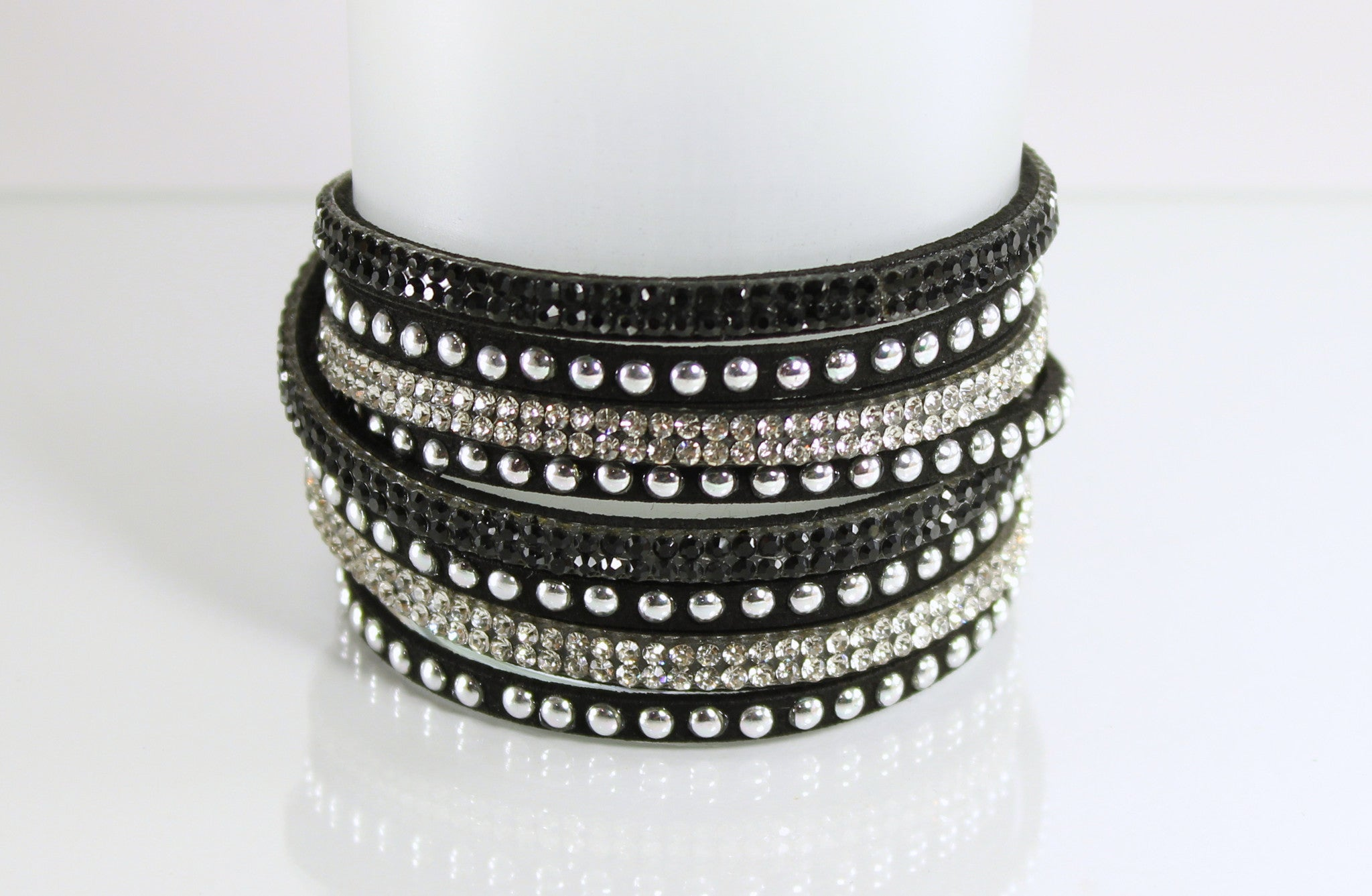 Black and Silver Rhinestone Wrap Bracelet