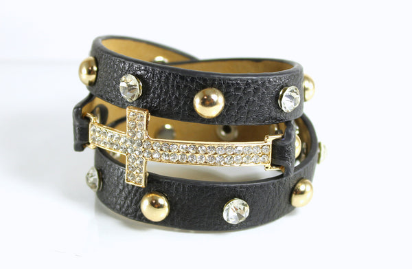 Black Leather Rhinestone Cross Wrap Bracelet
