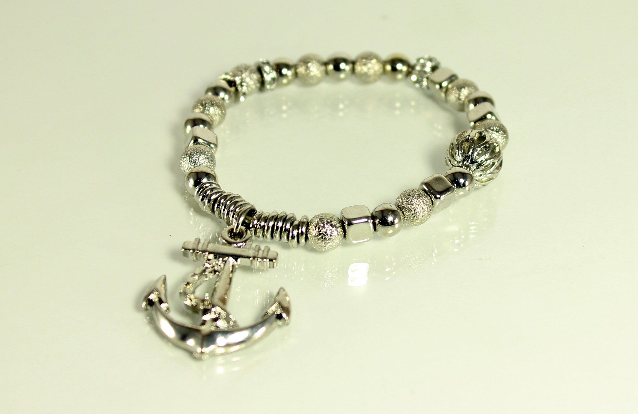 Anchors Away Silver Stretch Bracelet