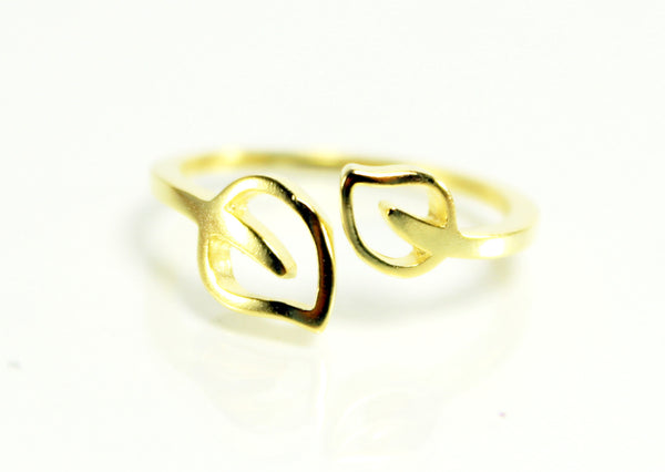 Trendy Golden Leaf Cuff Ring