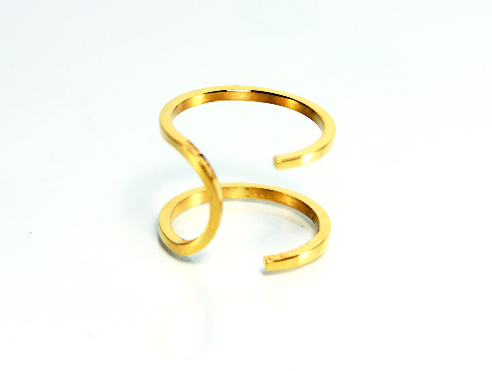 Double Stainless Steel Gold Ring-Size 7