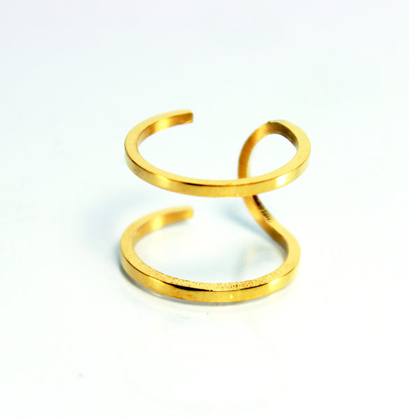 Double Stainless Steel Gold Ring-Size 8