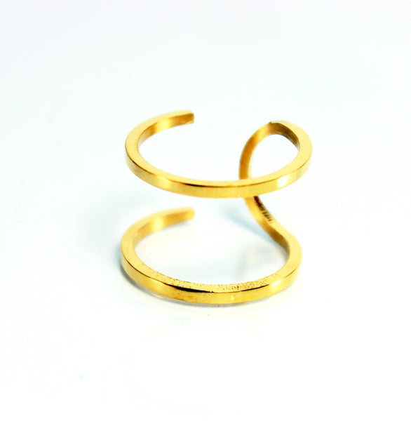 Double Stainless Steel Gold Ring-Size 6