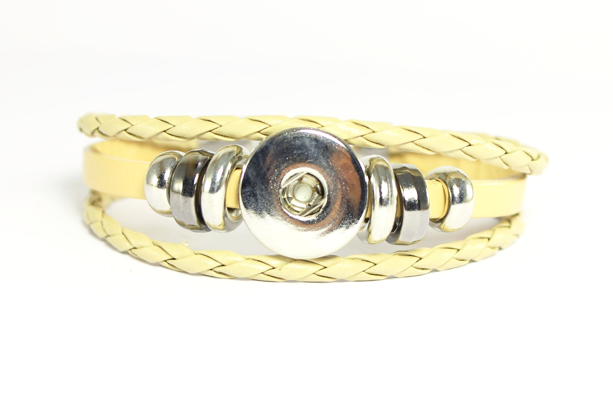 Sparkle Snap- Latte Cream Leather and Hematite Bracelet