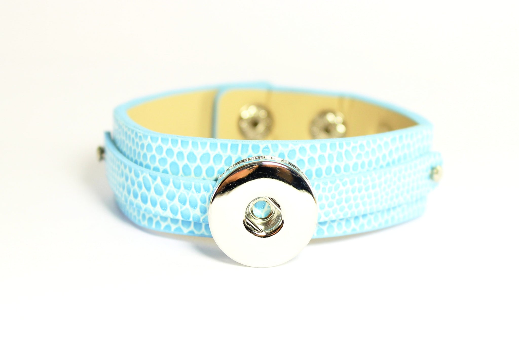 Sparkle Snap Blue Faux Crocodile Bracelet