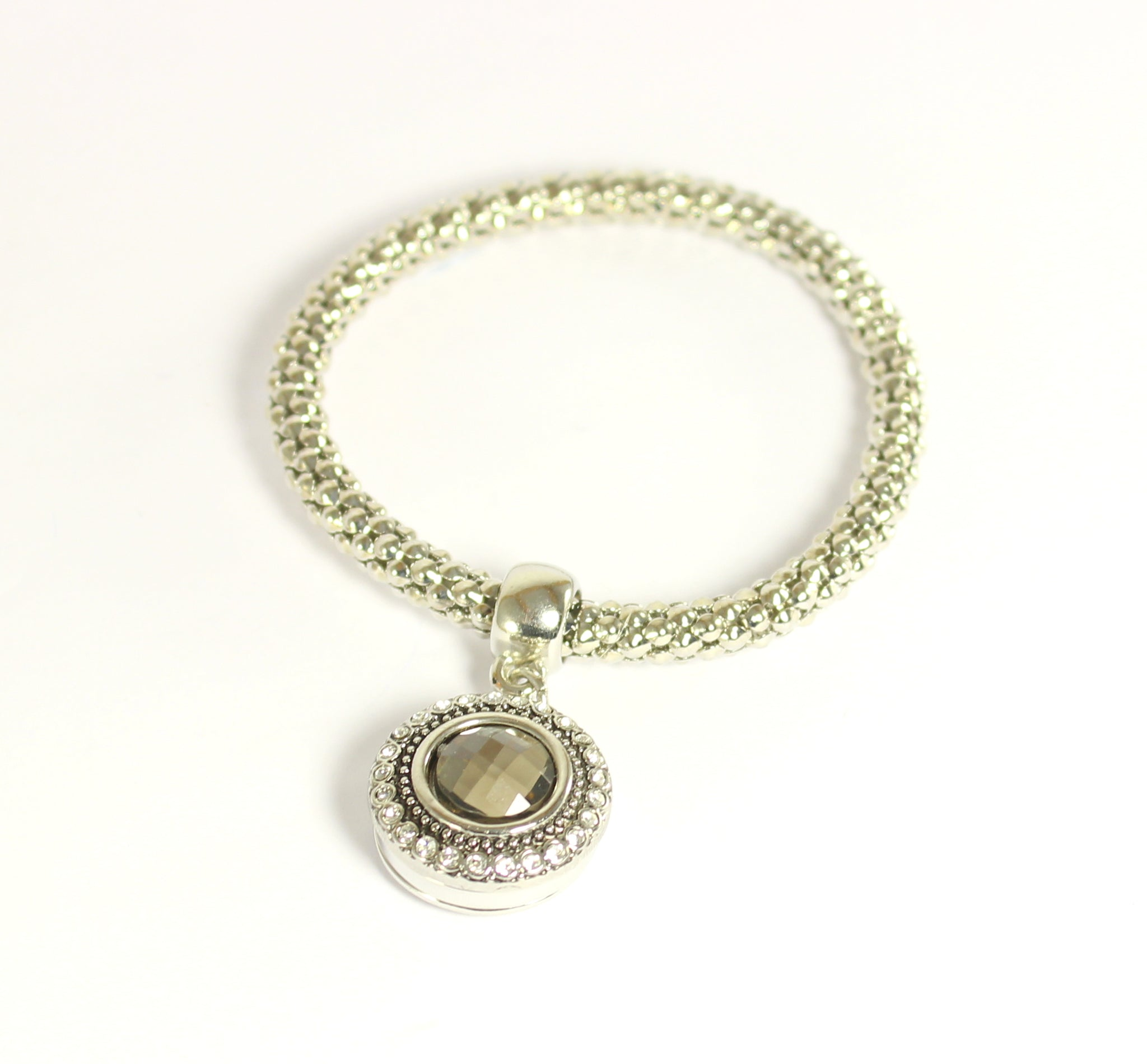 Sparkle Snap Silver Stretch Bracelet