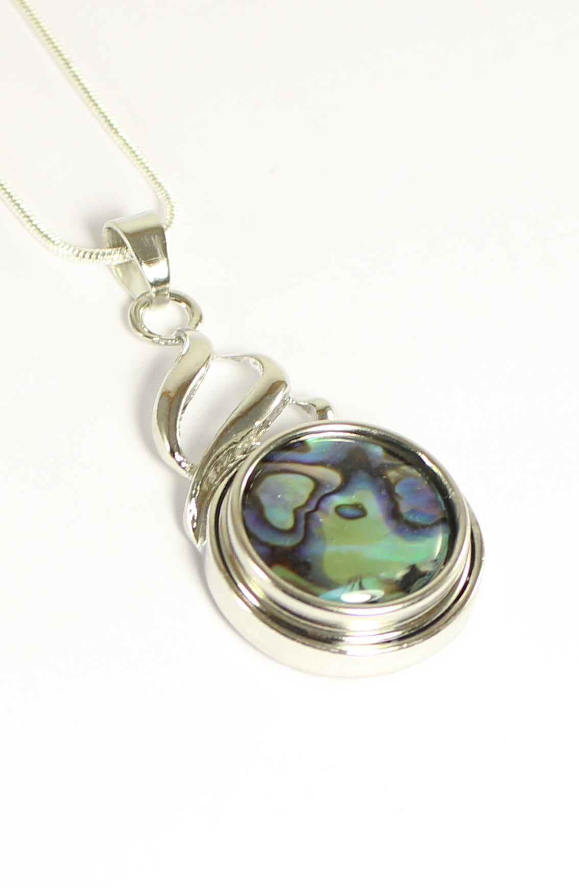 Sparkle Snap Swirl Design Pendant and Necklace Set