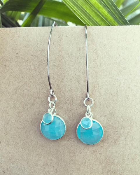 Lake Blue Faceted Glass Earrings