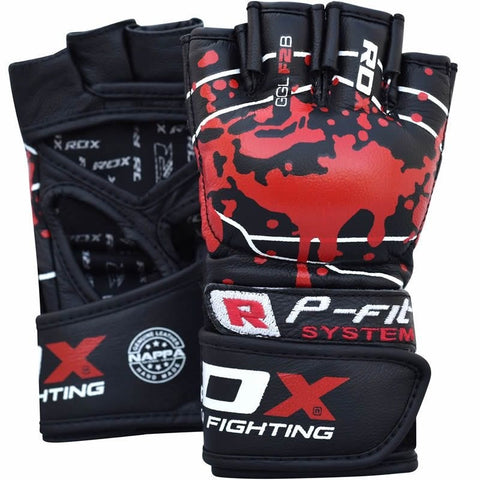 RDX Gym Grappling Blood Double Strap Handschuh Fitness