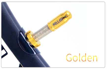 Titanium Oil Slick & Golden Presta Valve Cap Kit