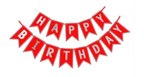 Happy Birthday Glitter banner - Red-Party Supplies-You and Gifts