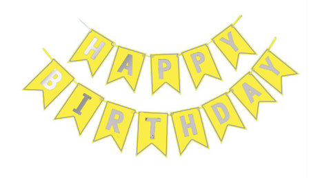 Happy Birthday Glitter banner - Yellow