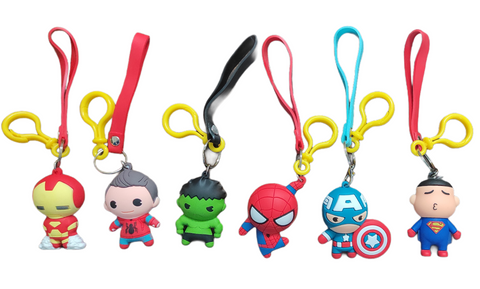 Superhero Silicone key chain/ Bag accessory/ Car decor ( Single Piece)