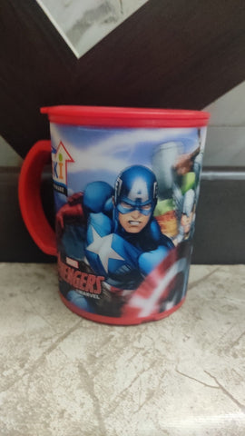3D effect Avengers character mugs with Lid for Kids - 350 ml  (1 Piece)