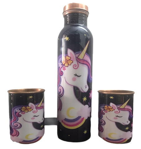 Copper Unicorn bottle with 2 glasses