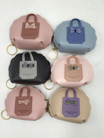 Stylish mini zipper coin pouch with key chain