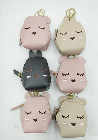 Stylish cat styled mini zipper coin pouch with key chain