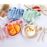 Peppa pig theme Cute Plate, Spoon, fork and chopstick wheat straw set for kids-Gift Pack-You and Gifts