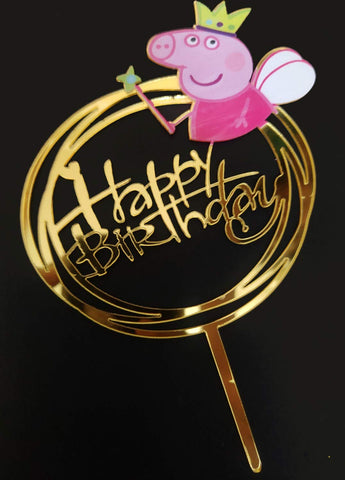 Peppa Pig themed based Happy Birthday Cake Topper